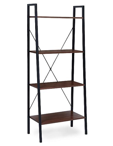 Suhu Estanteria Escalera Madera con 4 Estantes Metalica Libreria Estanteria Esquina Almacenaje y Organización de Pie para Cocina Habitacion Salón ...