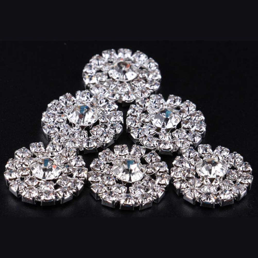 ARTIBETTER 36PCS DIY Diamond Buckle Sun Fower Rhinestone Crystal Button Silver