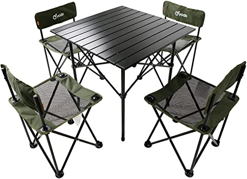 Yodo 5 In 1 Foldable Kids Picnic Table And Chairs Set For Family Outdoor Camping Beach Party Olive Amazon Co Uk Garden Outdoors