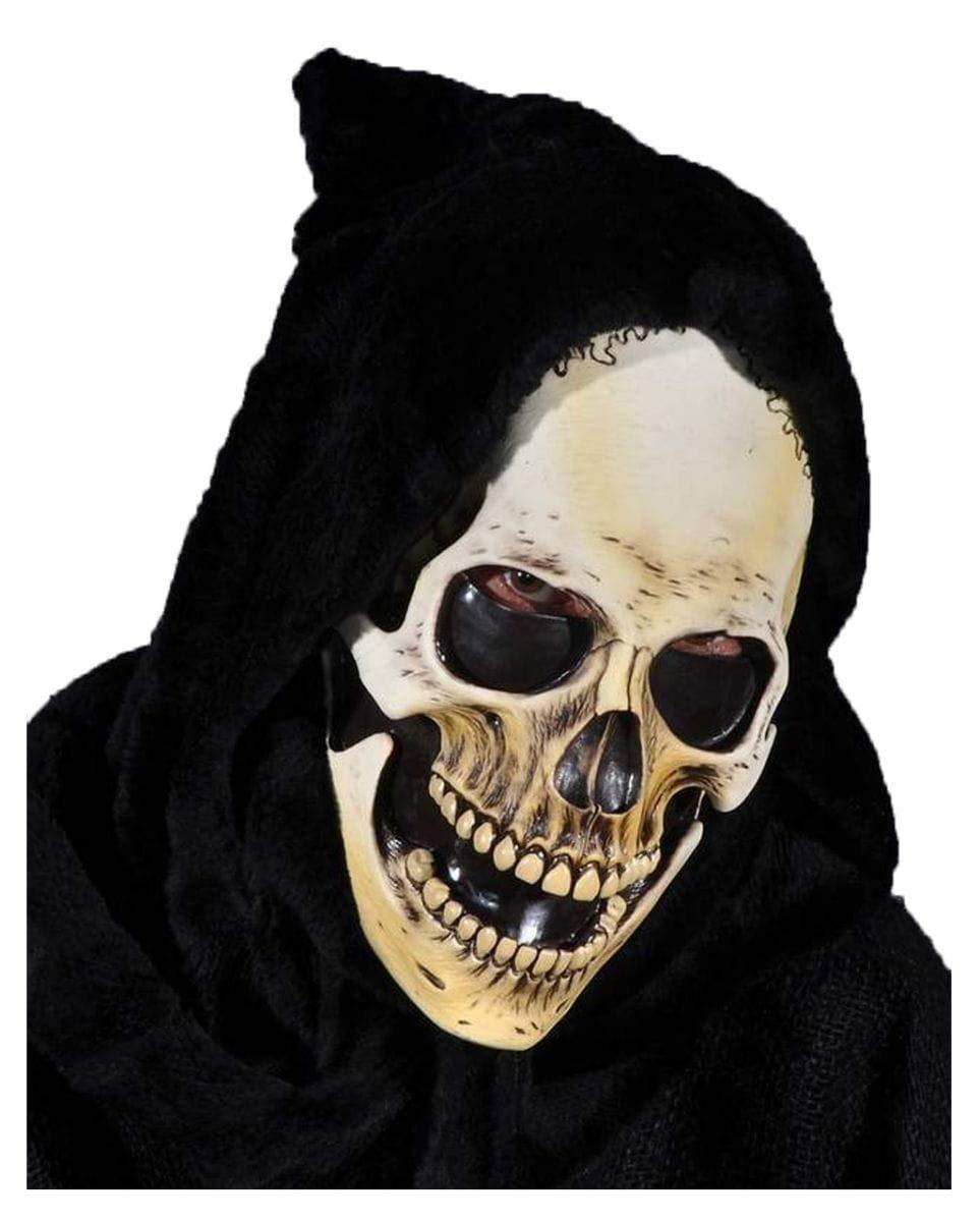 Horror-Shop Totenschädel Skelett Maske mit schwarzer schwarzer schwarzer Kapuze für Halloween - Latex/Stoff e3f362