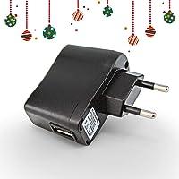 prunus Adaptateur USB 5V/1A AC/DC avec Voyant Lumineux, idéal pour radios ou Haut-parleurs équipés d'Une Batterie Lithium Rechargeable (5V/1A, Noir)