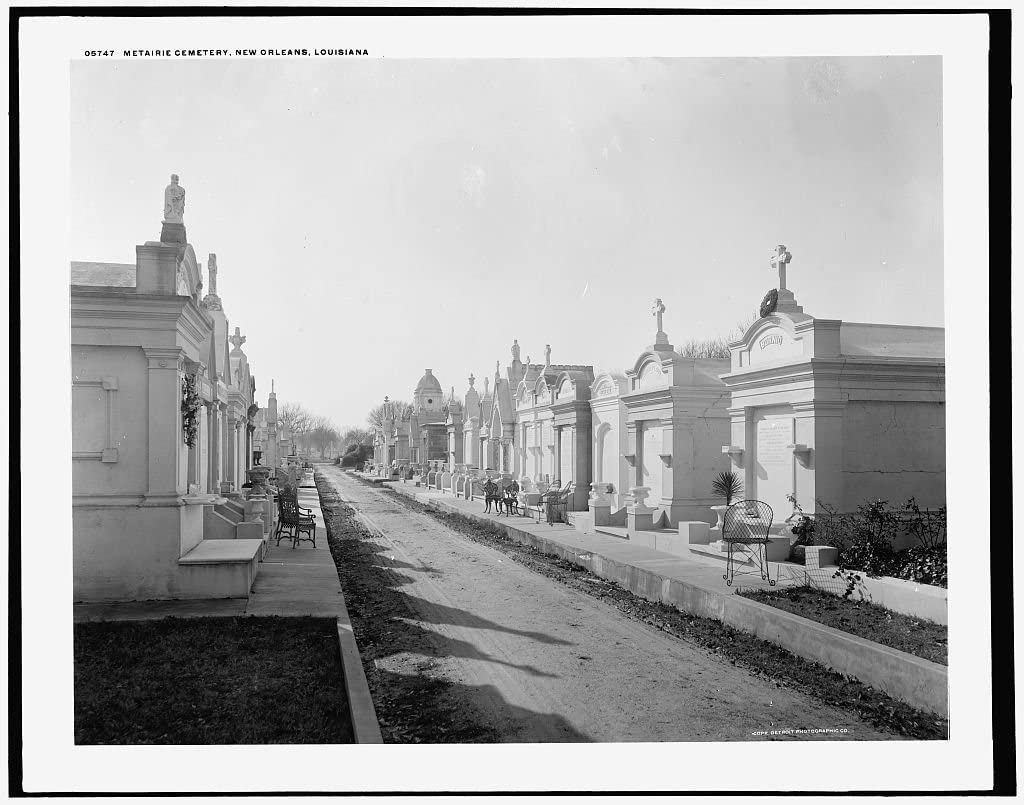 Vintography 8 x 10 Ready to Frame Pro Photo of Metairie Cemetery New Orleans Louisiana 1891 Detriot Publishing 31a