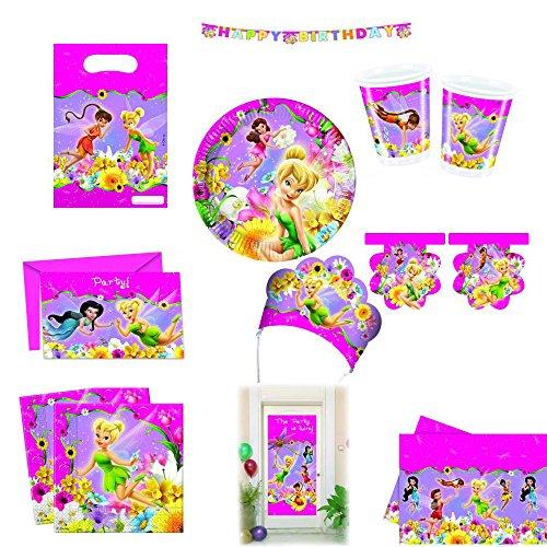 Disney Fairies Spring Elfen Mädchen Kinder Geburtstag Party Set Tisch Dekoration mit Servietten Teller Becher Einladungskarten Tüten Wimpel Girlande Diademe und Türposter
