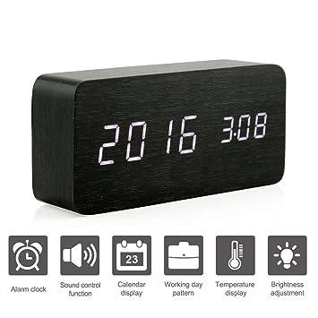 Bzng Reloj Despertador Digital LED de Madera, Muestra el Tiempo Fecha y Temperatura, Control de Sonido Reloj de Escritorio para el hogar, durmientes Pesados ...