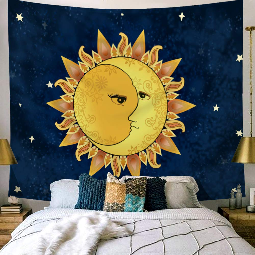 Buy Kmnovo Tarot Moon And Sun Tapestry Gold Bedroom Dorm Room Decorations For Teen Girls White And Black Fatimas Wall Hanging Best Wall Decor Blue S 50 X60 Online At Low Prices In