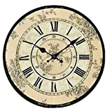 Wall Clock Vintage Style, Wall Clock Roman Numerals Country House Wall Clock Vintage Flat and Wall Clock Modern Design (3, L)