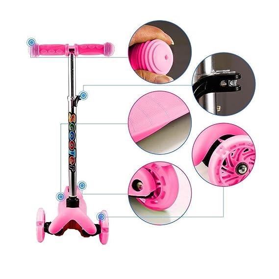 cooshional Patinete Scooter de 3 Ruedas para Niños con LED Altura Ajustable 4 Niveles
