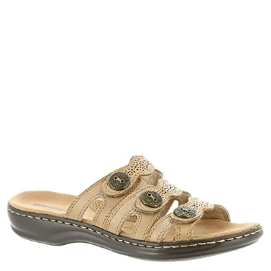 057e683518a Clarks Womens Leisa Grace Leather Open Toe Casual Slide Sandals ...