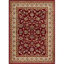 "Noble Sarouk Red Persian Floral Oriental Formal Traditional Area Rug 5x7 ( 5'3"" x 7'3"" ) Easy to Clean Stain Fade Resistant Shed Free Modern Contemporary Transitional Soft Living Dining Room Rug"