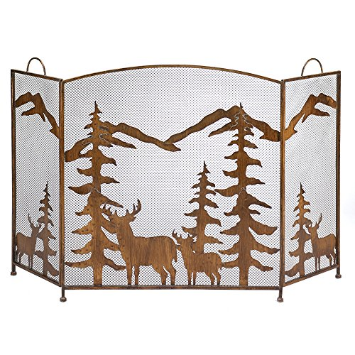 Rustic Forest Iron Fireplace Screen