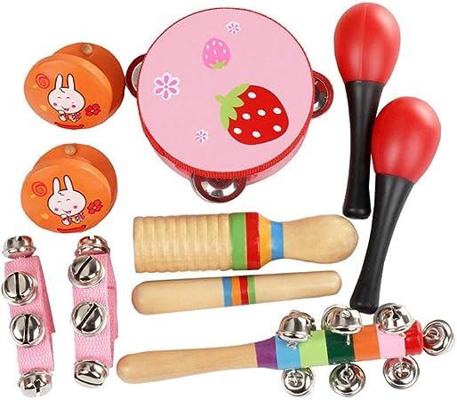 ammoon 10pcs / set Juguetes musicales Instrumentos de percusión Kit de ritmo de banda Incluso Pandereta Maracas Castañuelas Campanas Guiro de madera ...