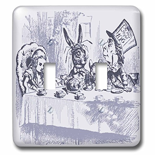 Florene Nursery Rhymes And Fairytales - Image of Alice Wonderland Mad Tea Party In Violet - Light Switch Covers - double toggle switch (lsp_234698_2) ()