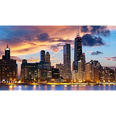 Jigsaw Puzzle 1000 Piece Chicago City Night View Puzzle Adult Puzzle DIY Kit Wooden Toy Unique Gift Modern Home Decor: Toys & Games