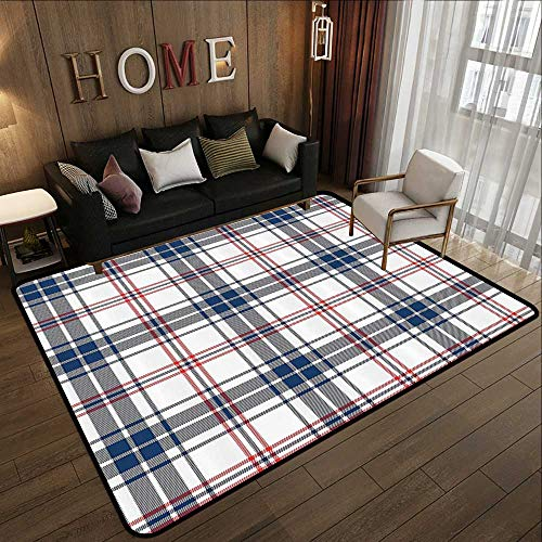 Modern Area Rug with Non-Skid,Abstract,English Style Tartan Motif Old Fashioned Cultural Striped Display,Violet Blue Orange White 47