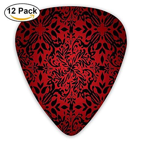 Newfood Ss Indian Mandala Ethnic Oriental Design Flowers Leaves Frame Guitar Picks 12/Pack Set