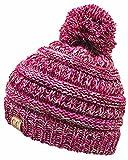 H-6847-816k.24 Girls Winter Hat Warm Knit Slouchy Kids Pom Beanie - Fuschia #1