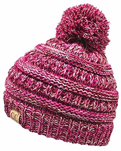 H-6847-816k.24 Girls Winter Hat Warm Knit Slouchy Kids Pom Beanie - Fuschia ()