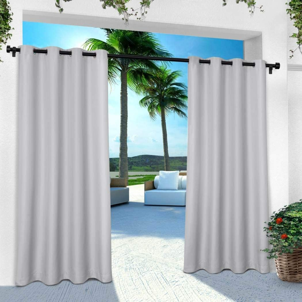 2 Pieces 96 Inch Cloud Grey Color Gazebo Curtains Set Pair, Gray Solid Color Pattern Rugby Colors Outside, Indoor Pergola Drapes Porch Deck Cabana Patio Screen Entrance Sunroom Lanai