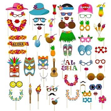 Dsaren 60 Pcs Accesorios para Fotomatón Divertido Bigotes Gafas Photo Booth Props Accesorios para Fiesta, Partido Boda, Hawaiano Beach Pool Parties, ...