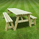 OAKHAM PICNIC TABLE AND BENCH SET - PUB STYLE BENCH - 6FT - HEAVY DUTY - HAND MADE - LIGHT GREEN - PRESSURE TREATED!!