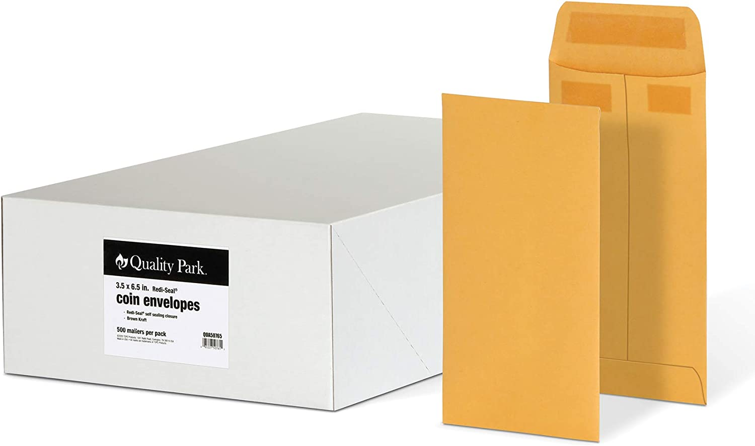 Quality Park #7 Coin and Small Parts Envelopes, Self Seal, for Home, Office, Garden, 24 lb Brown Kraft, 3-1/2 x 6-1/2 Inches, 500/Box (QUA50765)