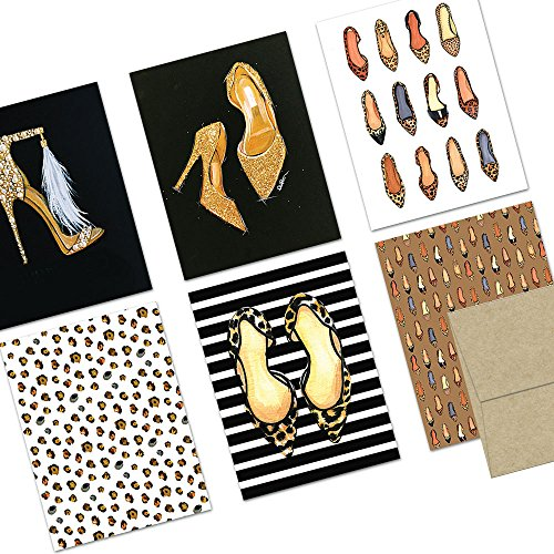 72 Note Cards - Shoes Galore - Blank Cards - Kraft Envelopes Included (Shoe Box Note)