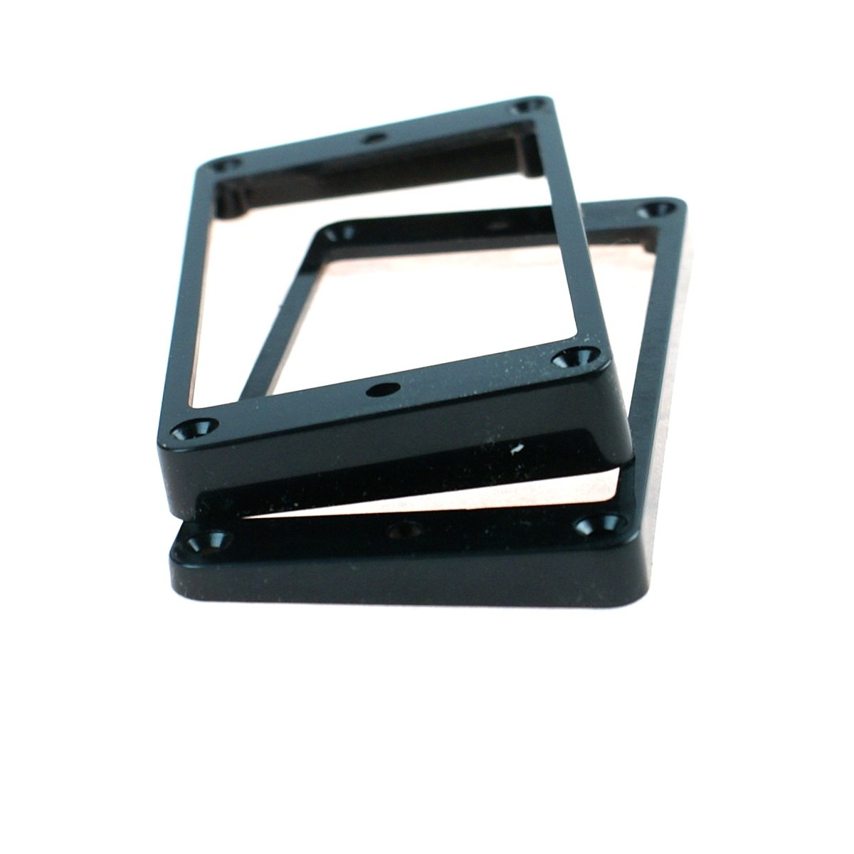 Set of 2 Humbucker Pickup Mounting Rings for bridge and neck pckups,Flat Bottom Black