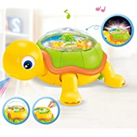 Kiddale Electric Bump and Go Running Tortoise Musical Toy with Light and Graceful Melody, Fun Filled Infant Baby Toy-Yellow