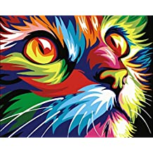 YEESAM ART New Release Paint by Number Kits for Adults Kids - Painted Cat Head 16x20 inch Linen Canvas Without Wooden Frame