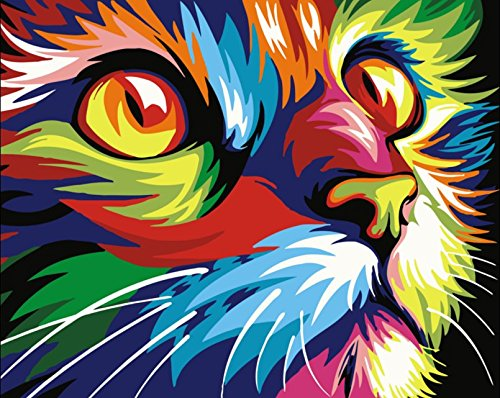 YEESAM ART Paint by Number Kits for Adults Kids – Painted Cat Head 16×20 inch Linen Canvas Without Wooden Frame
