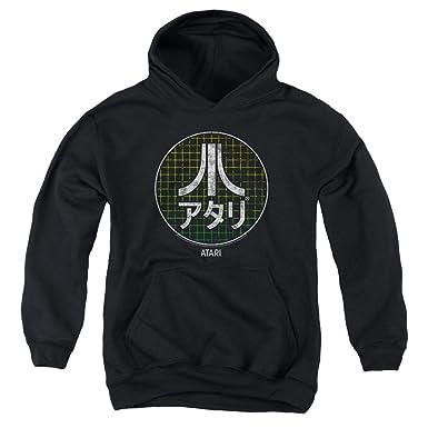 Atari Kids Hoodie Japanese Grid Logo Black Hoody, Small