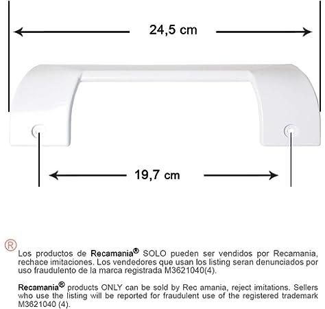 Recamania Tirador Puerta frigorifico Blanco. BALAY, Bosch, C.O. 490705. Medidas: Longitud 245mm, Anclaje 197mm.: Amazon.es