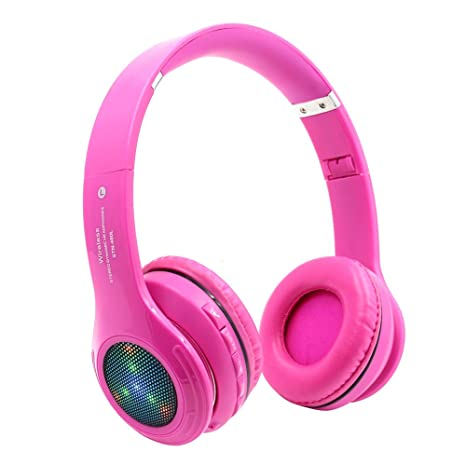 f669c3c9a4e Bluetooth Wireless Headphones for Girls Kids,LED Light Up Headset with  Mic,Noise Reduction