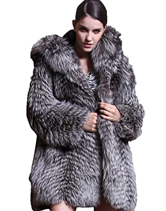e955b65cd YR Love Women's Thick 100% Real Silver Fox Fur Coat with Hood at ...