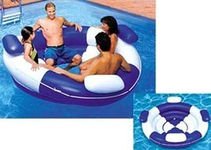Amazon.com: Inflatable Blue and White Sofa Island Swimming Pool ...