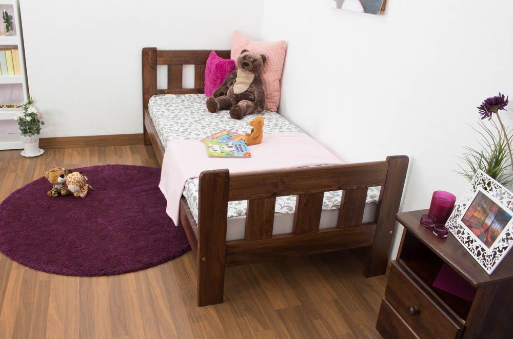 Kinderbett / Jugendbett Kiefer Vollholz massiv massiv massiv Nussfarben A22, inkl. Lattenrost - Abmessung 90 x 200 cm 5a7c4a