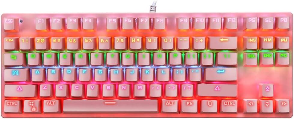 Margot74 Teclado mecánico, 87 teclas Full Anti-Ghosting Gaming Teclado Colorido Retroiluminado USB Cable Teclado mecánico para jugadores y ...