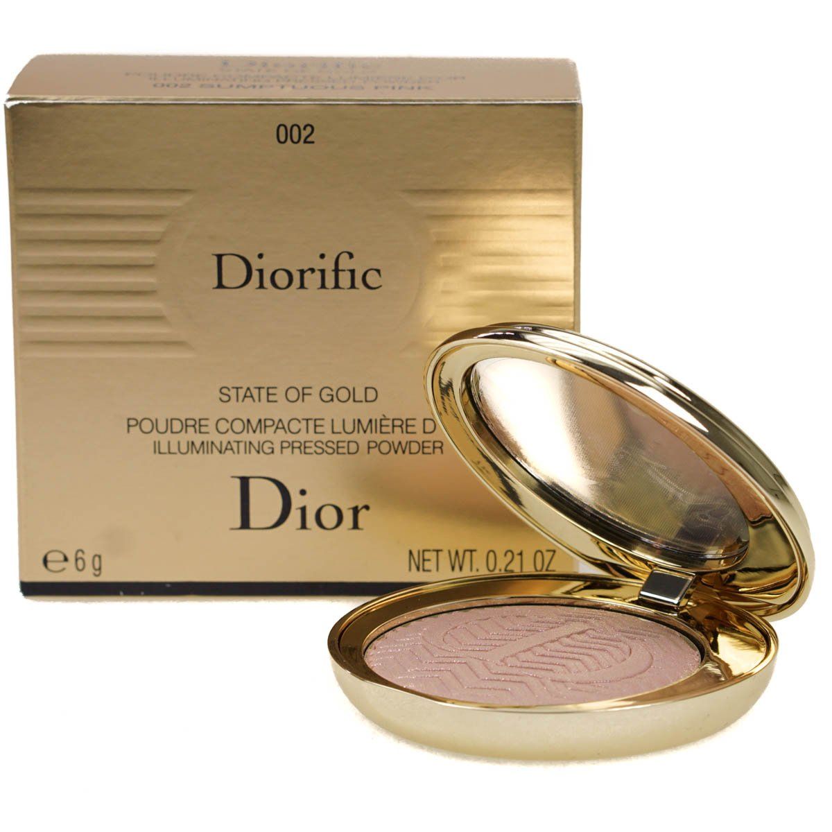14212d6a426 Dior Diorific State of Gold Poudre Compacte Lumiere D Or Illuminating  Pressed Face Powder Highlight 002 Sumptuous Pink 6grams  Amazon.co.uk   Beauty