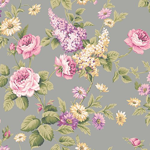 Wallpaper Pink Purple Lavender Yellow Floral Roses and Daisies on Metallic Gray CT0844 ()