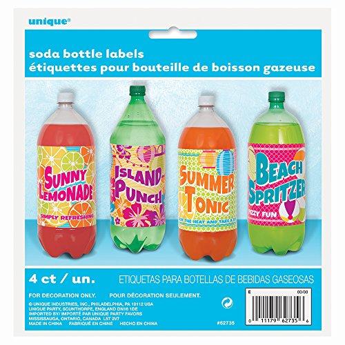 [Summer Party Soda Bottle Labels, 4ct] (Soda Bottle Costumes)