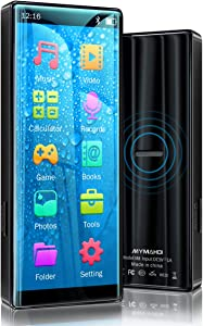 MYMAHDI MP3 Player with Bluetooth 5.0, High Resolution and Full Touch Screen, Built-in Speaker, 8GB HiFi Lossless Sound Player with FM Radio, Voice Recorder, Supports up to 128GB, Black