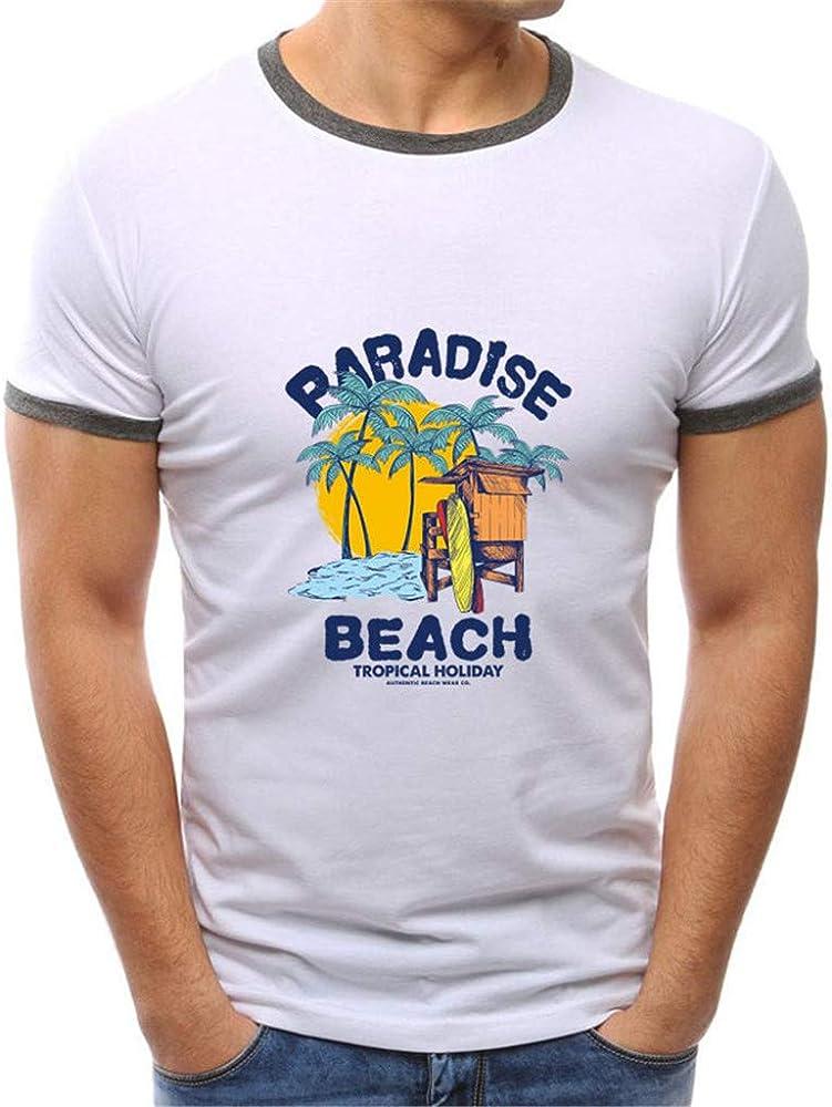 beautyjourney Camiseta de algodón para Hombre Camisa básica de Verano de Manga Corta Delgada Transpirable básica Camisa de Surf con Cuello Redondo Blusa Tops: Amazon.es: Ropa y accesorios