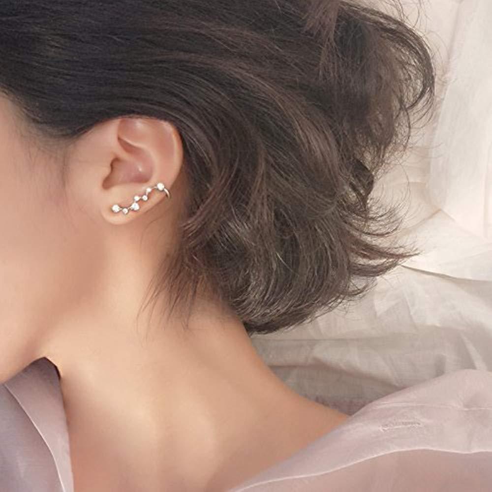 Pendientes de Plata de Ley 925 con dise/ño de Gota de Gallo ANNIUP Pendientes de Estrella de Diamante con constelaci/ón Delicada para Mujeres y ni/ñas