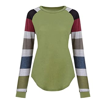 Women Tops and Blouse Women's Stripe Long Sleeve Shirts Ladies Casual Loose Pullover Tops Blouse