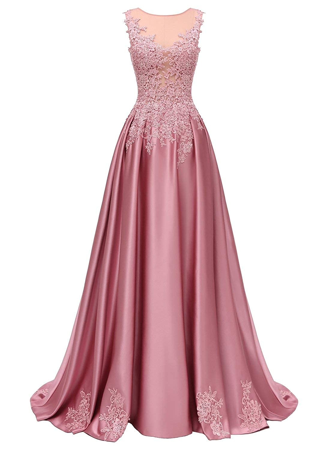 Pink Dressytailor Aline Scoop Long Satin Appliques Beading Prom Dress Formal Evening Gown with Pockets