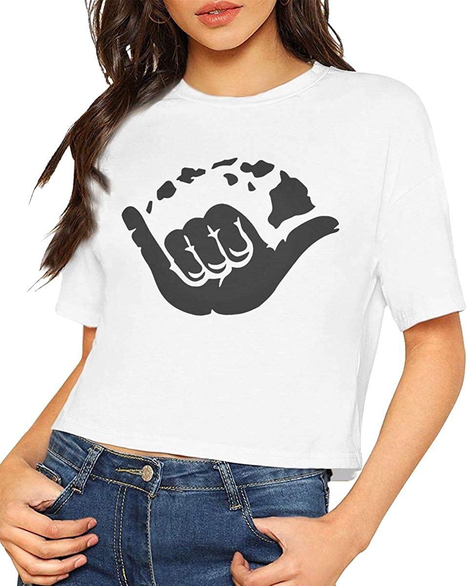 VANMASS Aloha Hand Hawaii Symbol Womens Short Sleeve Crop Tops T-Shirts