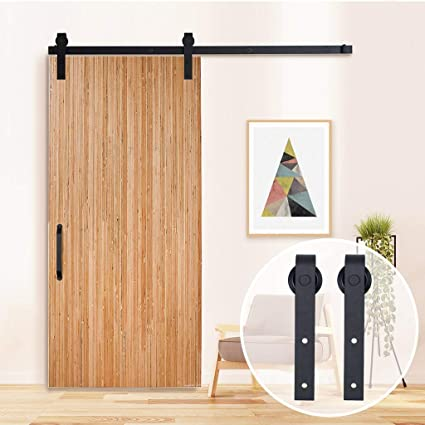 TCBunny 6.6 Feet Sliding Barn Door Hardware Set Superior Quality Track Kit  Antique Style (Black - TCBunny 6.6 Feet Sliding Barn Door Hardware Set Superior Quality