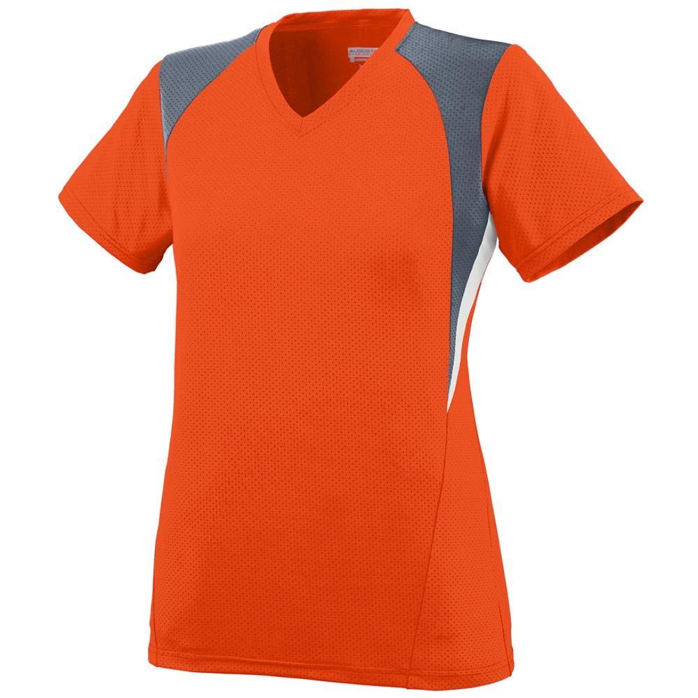 Augusta Sportswear Girls' Mystic Jersey L Orange/Graphite/White