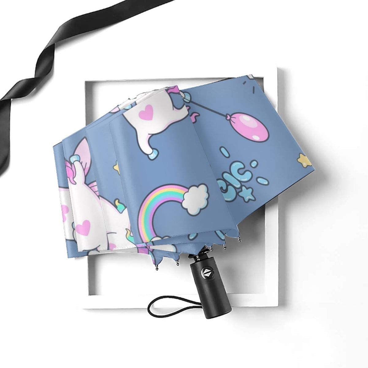 Seamless Pattern With Cute Little Unicorns Compact Travel Umbrella Windproof Reinforced Canopy 8 Ribs Umbrella Auto Open And Close Button Customized
