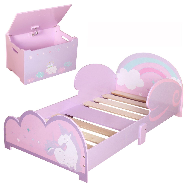 Lit pour enfant et boîte de jouets pour enfants filles Junior en bois–Licorne M&B